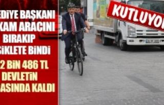 Belediye Başkanı Makam Aracını Bırakıp Bisiklete...
