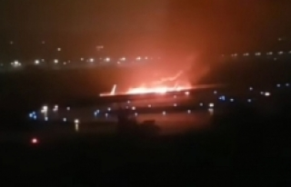 Rus Uçağı Pistten Çıkarak Yandı