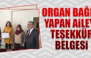 Organ Bağışı Yapan Aileye Teşekkür Belgesi