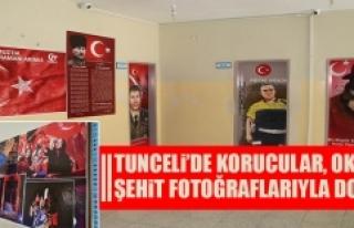 Tunceli'de Korucular, Okulu Şehit Fotoğraflarıyla...