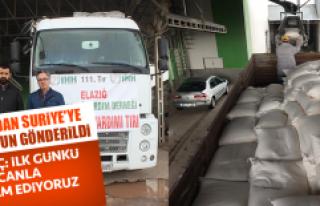 Elazığ'dan Suriye'ye Bir Tır Un Gönderildi