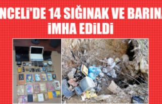 Tunceli'de 14 Sığınak ve Barınak İmha Edildi