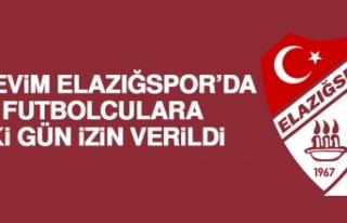 Birevim Elazığspor'da Futbolculara İki Gün İzin...