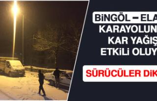Bingöl—Elazığ Karayolunda Kar Yağışı Etkili...