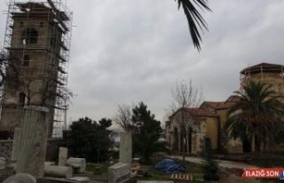 Ayasofya Camisi'nde süren restorasyon çalışmalarında...