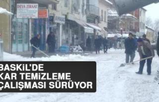 Baskil'de Kar Temizleme Çalışması Sürüyor