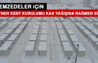 Konteyner Kent Kurulumu Kar Yağışına Rağmen Sürüyor