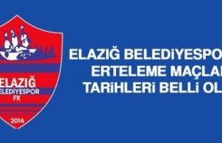 Elazığ Belediyespor'un Erteleme Maçları Tarihleri...