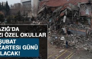 Elazığ'da Bazı Özel Okullar Pazartesi Günü...