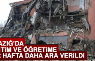 Elazığ'da Eğitim Bir Hafta Daha Ertelendi