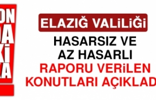Elazığ Valiliği; Hasarsız ve Az Hasarlı Binaları...