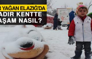 Kar Yağan Elazığ'da, Çadır Kentte Yaşam...