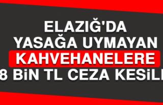Elazığ'da Yasağa Uymayan Kahvehanelere 8 Bin...
