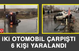İki Otomobil Çarpıştı, 6 Kişi Yaralandı