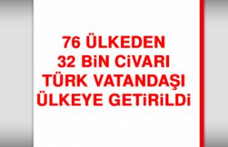 76 Ülkeden 32 Bin Civarı Türk Vatandaşı Ülkeye...