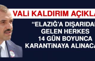 Vali Kaldırım: İl Dışından Gelen Herkes 14 Gün...
