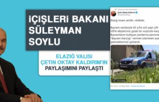 Bakan Soylu Vali Kaldırım'ın Paylaşımını...