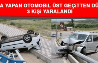 Kaza Yapan Otomobil Üst Geçitten Düştü, 3 Kişi...