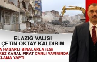 Vali Kaldırım, Orta Hasarlı Binalarla İlgili Açıklama...