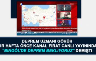 """Deprem Uzmanı Görür """"Bingöl'de Deprem Bekliyoruz""""..."""