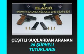 Elazığ'da Çeşitli Suçlardan Aranan 20 Şüpheli...