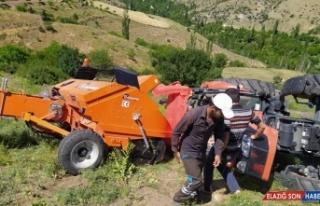 Erzurum'da traktörle balya makinesi arasına sıkışan...