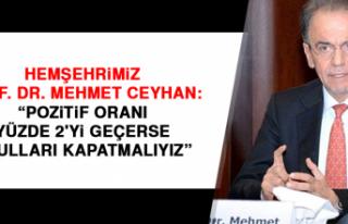 Hemşehrimiz Prof. Dr. Mehmet Ceyhan: Pozitif oranı...