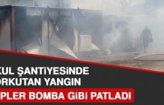 Okul Şantiyesinde Korkutan Yangın
