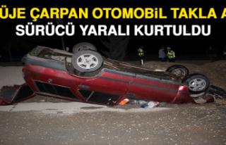 Refüje Çarpan Otomobil Takla Attı, Sürücü Yaralı...