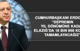 """Cumhurbaşkanı Erdoğan: """"Elazığ'da 18 bin..."""