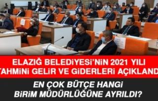 Elazığ Belediyesi'nin 2021 Yılı Tahmini Gelir...
