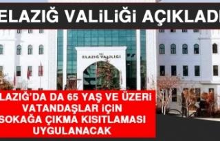 Elazığ'da da 65 Yaş ve Üzeri Vatandaşlar İçin...