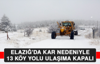Elazığ'da Kar Nedeniyle 13 Köy Yolu Ulaşıma...
