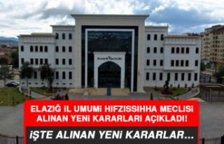 Elazığ İl Umumi Hıfzıssıhha Meclisi alınan...