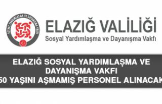 Elazığ SYDV'ye 50 Yaşını Aşmamış Personel...