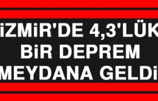 İzmir'de 4,3'lük Bir Deprem Meydana Geldi