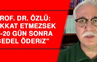 """Prof. Dr. Özlü: """"Dikkat etmezsek 15-20 gün sonra..."""