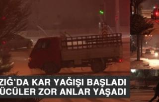 Elazığ'da Kar Yağışı Başladı Sürücüler...