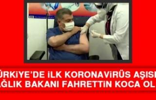 İlk Koronavirüs Aşısını Sağlık Bakanı Fahrettin...