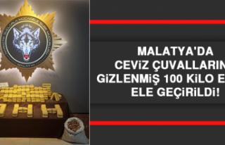 Malatya'da Ceviz Çuvallarına Gizlenmiş 100...