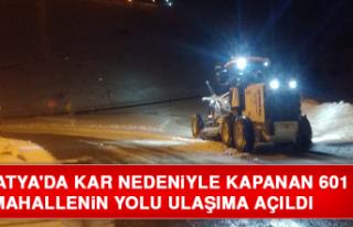 Malatya'da Kar Nedeniyle Kapanan 601 Mahallenin...