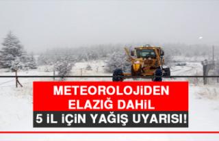 Meteorolojiden Elazığ Dahil 5 İl İçin Yağış...