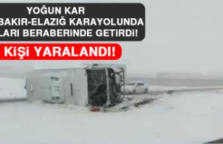 Yoğun Kar Diyarbakır-Elazığ Karayolunda Kazaları...