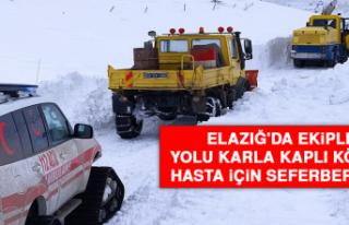Elazığ'da Ekipler Yolu Karla Kaplı Köydeki...