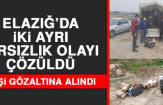 Elazığ'da İki Ayrı Hırsızlık Olayı Çözüldü,...