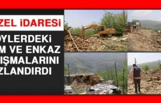 İl Özel İdaresi Köylerdeki Yıkım ve Enkaz Çalışmalarını...