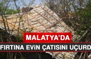 Malatya'da Fırtına Evin Çatısını Uçurdu