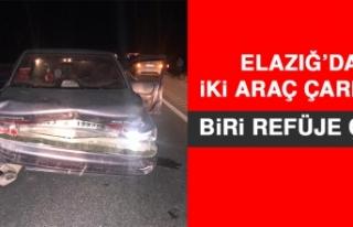 Elazığ'da İki Araç Çarpıştı, Biri Refüje...