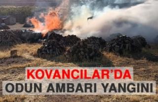 Kovancılar'da Odun Ambarı Yangını