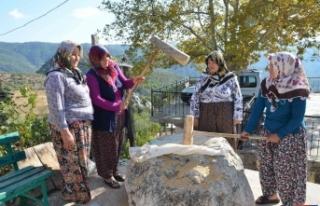 """Antalya'da asırlık """"dibekte buğday dövme""""..."""